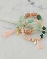 2-Pack Chunky Beaded Bracelet -  pink-green