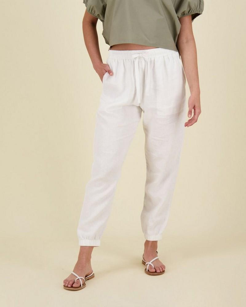 Bev Linen Pants -  white