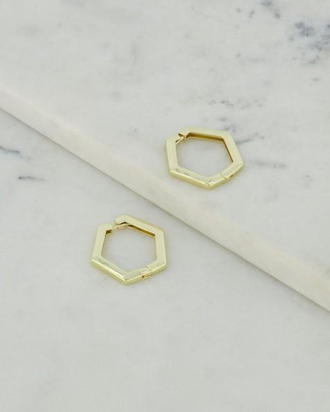 Solid Hexagonal Hoop Earrings -  gold