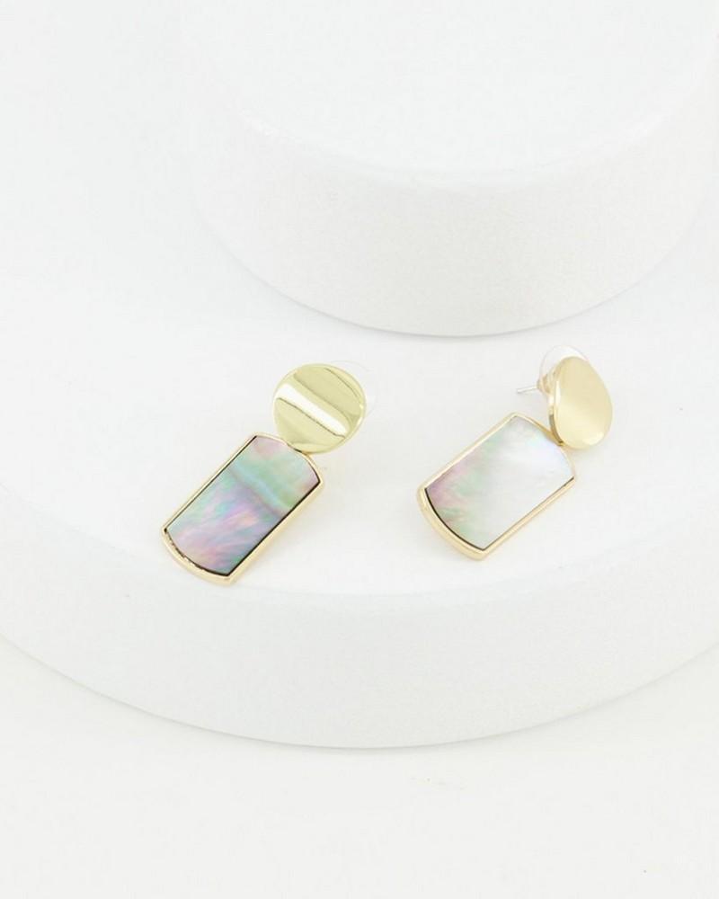 Rectangular Shell Drop Earrings -  grey-gold