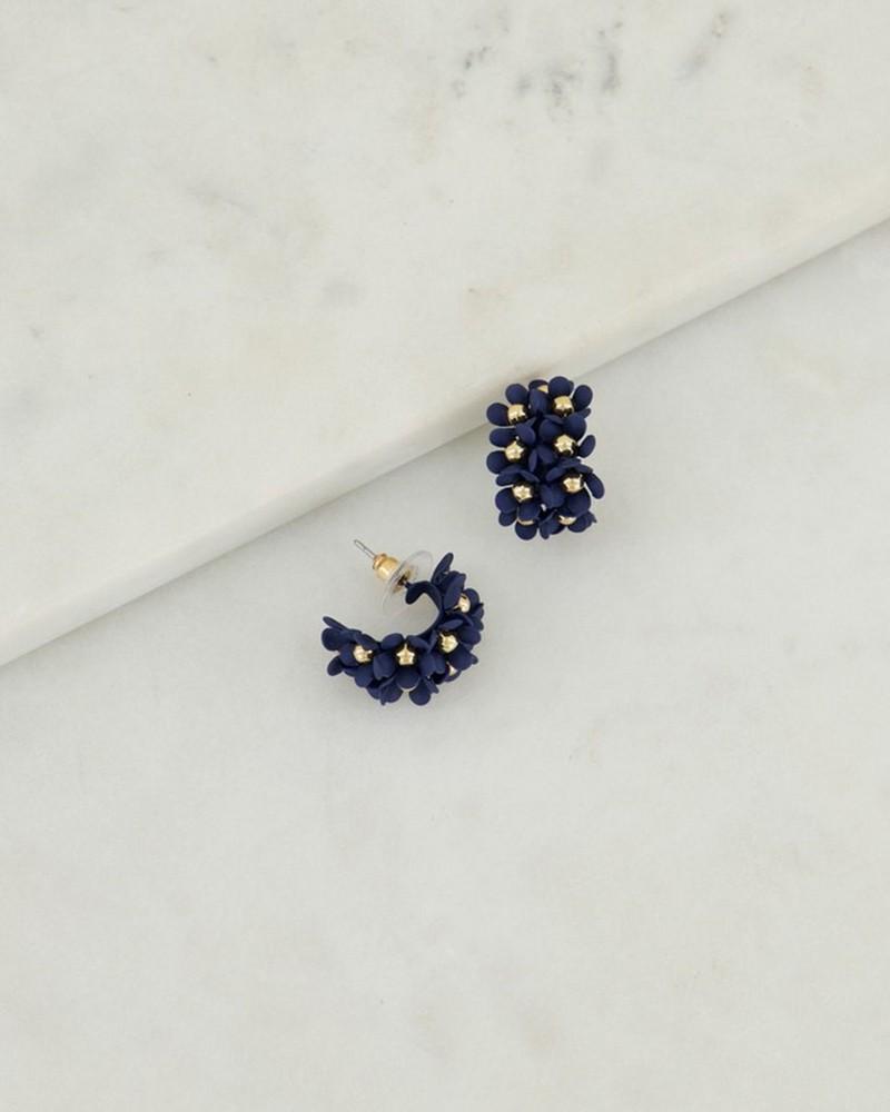 Clustered Floral Epoxy Hoop Earrings -  navy-gold