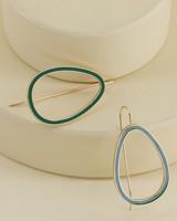 Geo Drop Earrings -  gold-emerald