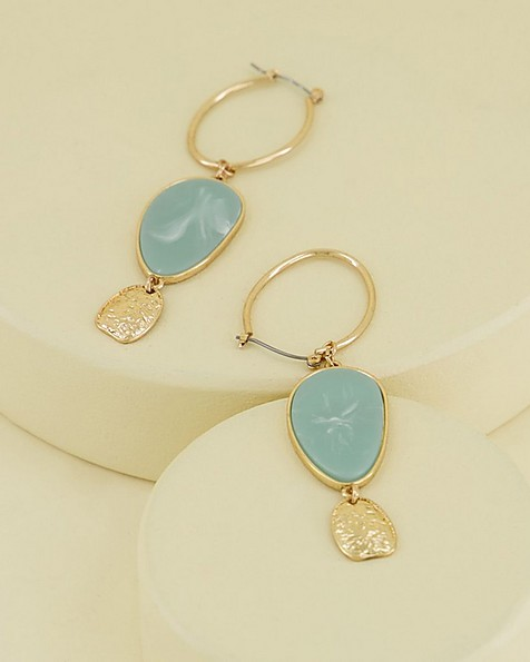 Oval Coin Drop Earrings -  green-gold