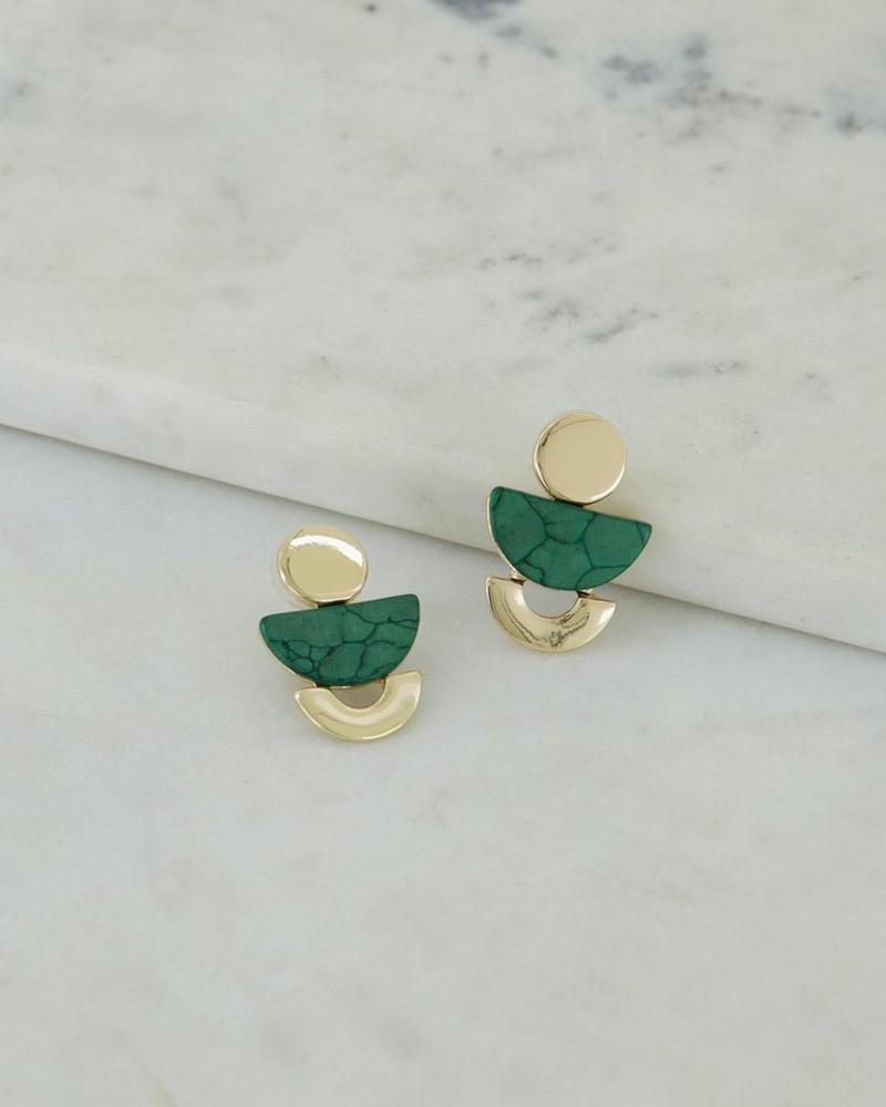 Geometric Stacked Drop Earrings -  green-gold