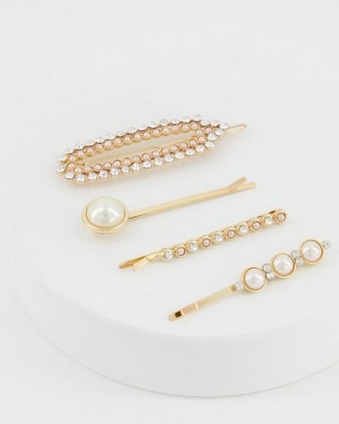 4-Pack Noelle Pearl & Shell Hair Slides -  milk-gold