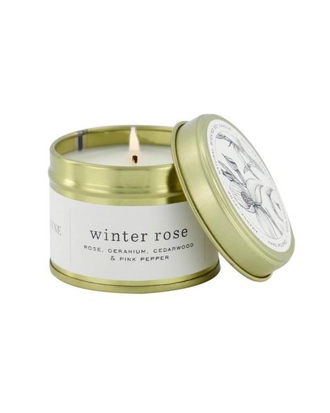 Amanda Jayne Winter Rose Candle in Gold Tin   -  white-black