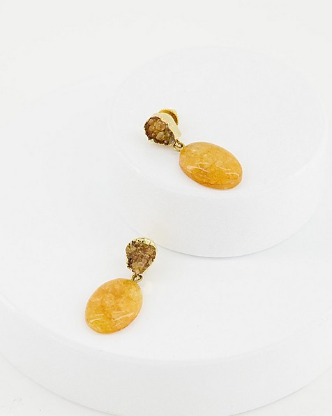 Natural Stone Drop Earrings -  yellow-gold