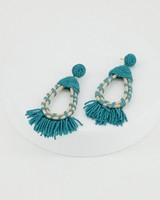 Seagrass & Beaded Oval Earrings -  aqua