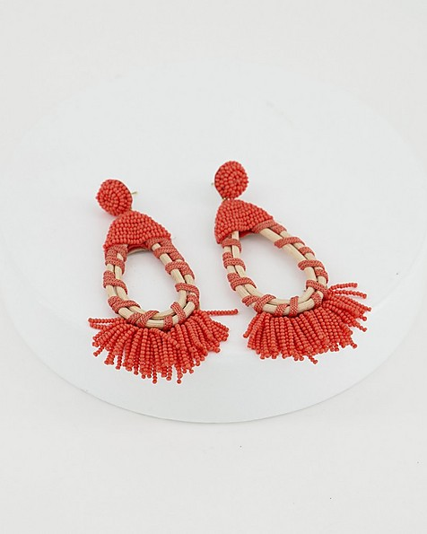 Seagrass & Beaded Oval Earrings -  coral