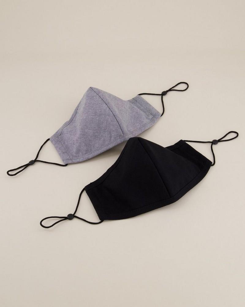 2-Pack Plain Fabric Face Masks -  black
