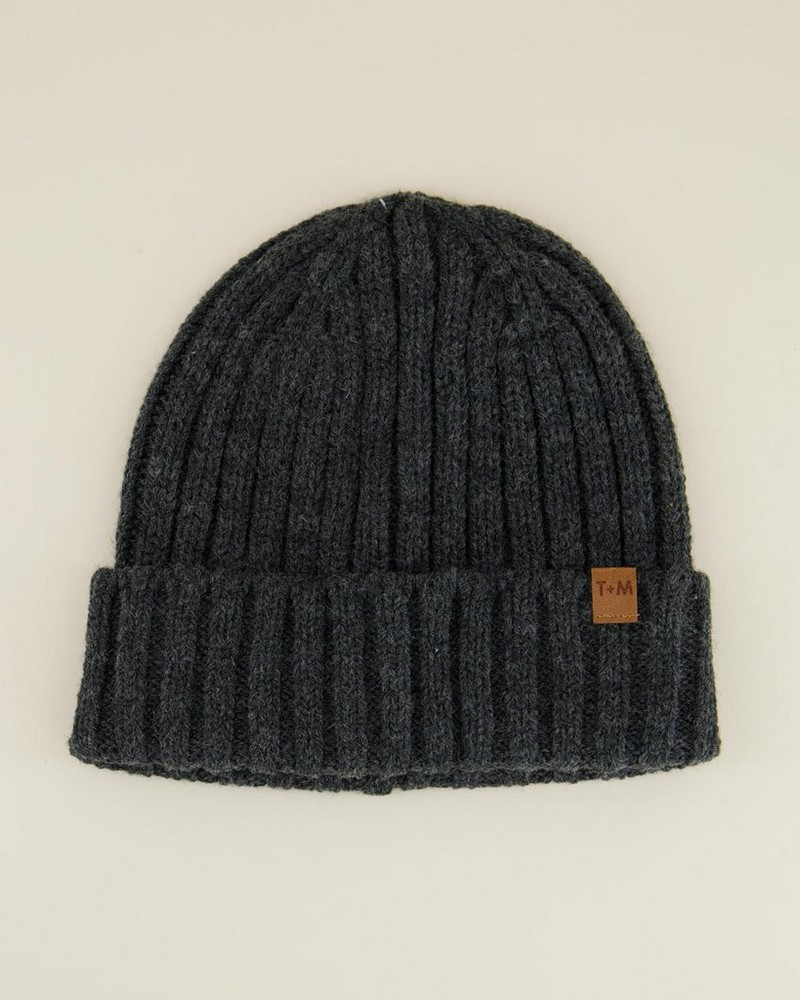 Rory Men's Ribbed Wool Beanie -  charcoal