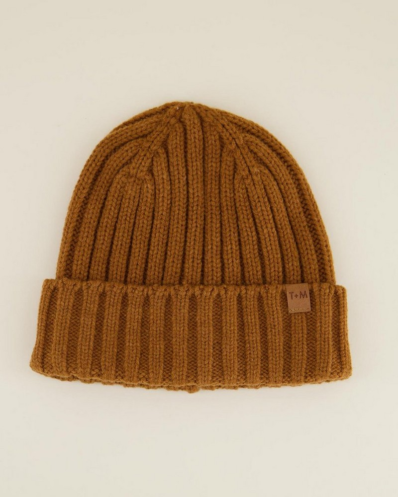Rory Men's Ribbed Wool Beanie -  brown