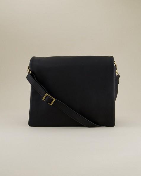 Michelle Fold Over Sling Bag -  black