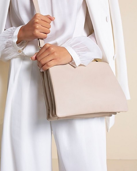Michelle Fold Over Sling Bag -  taupe