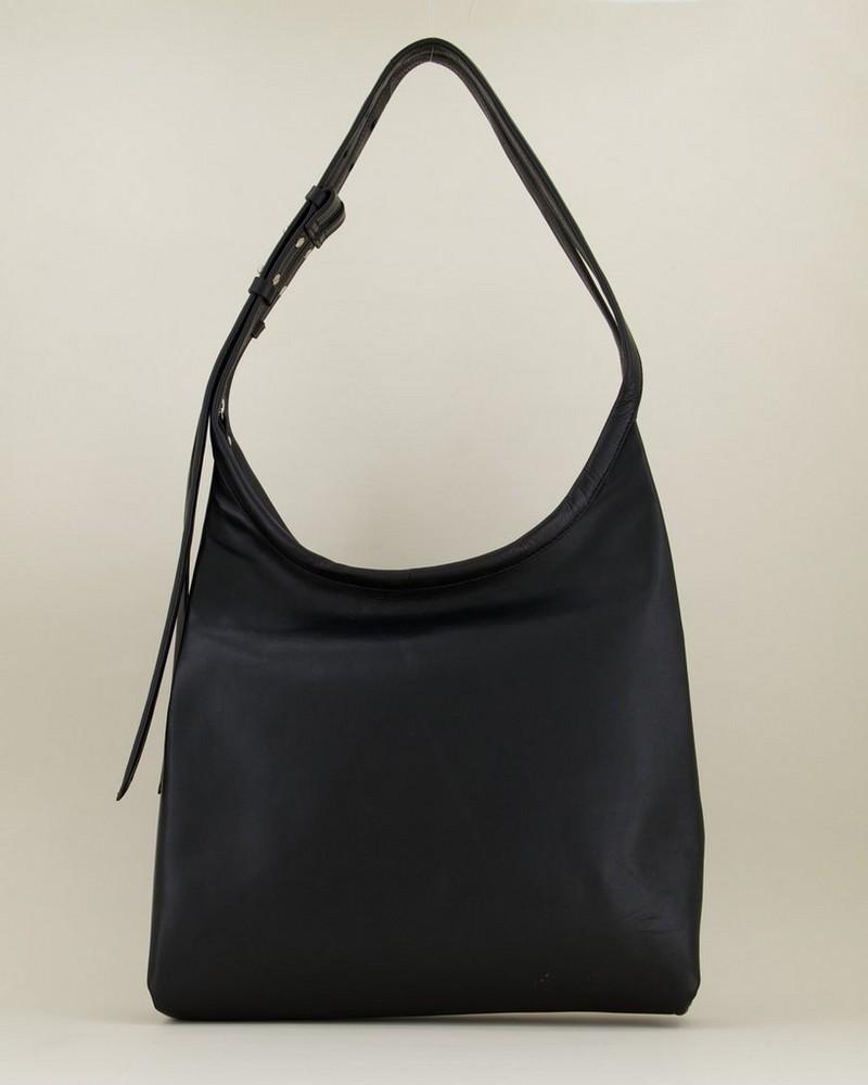 Thalia Hobo Leather Bag -  black