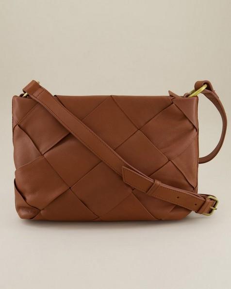 Maia Weaved Crossbody Bag -  tan