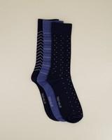 3-Pack Men's Striped Sock Pack -  navy