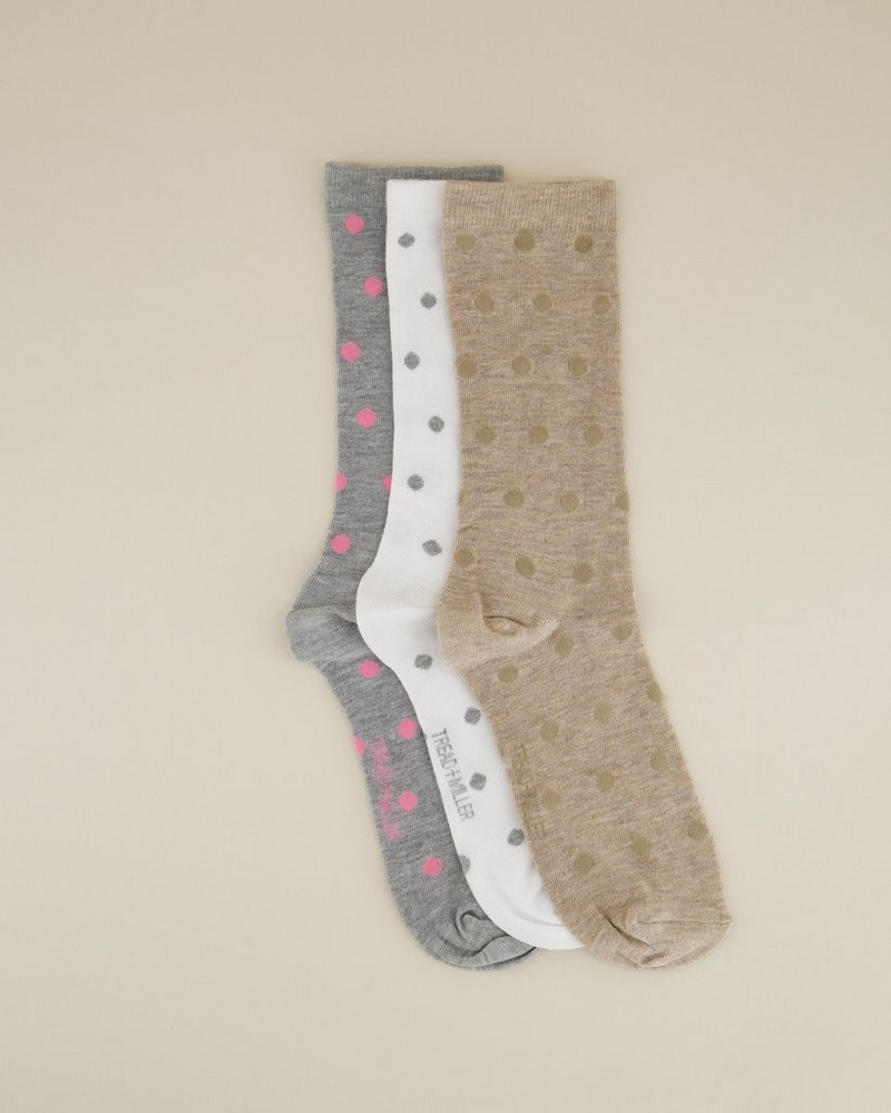Tread & Miller Ladies Dotted Sock Pack -  assorted