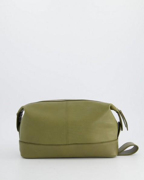 Hiromi Leather Washbag -  olive