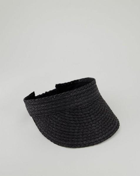 Peyton Straw Visor -  black