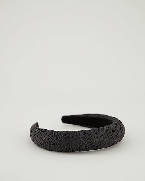 Ladies Everly Paper Straw Alice Band -  black