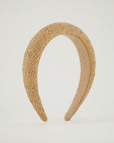 Ladies Everly Paper Straw Alice Band -  stone