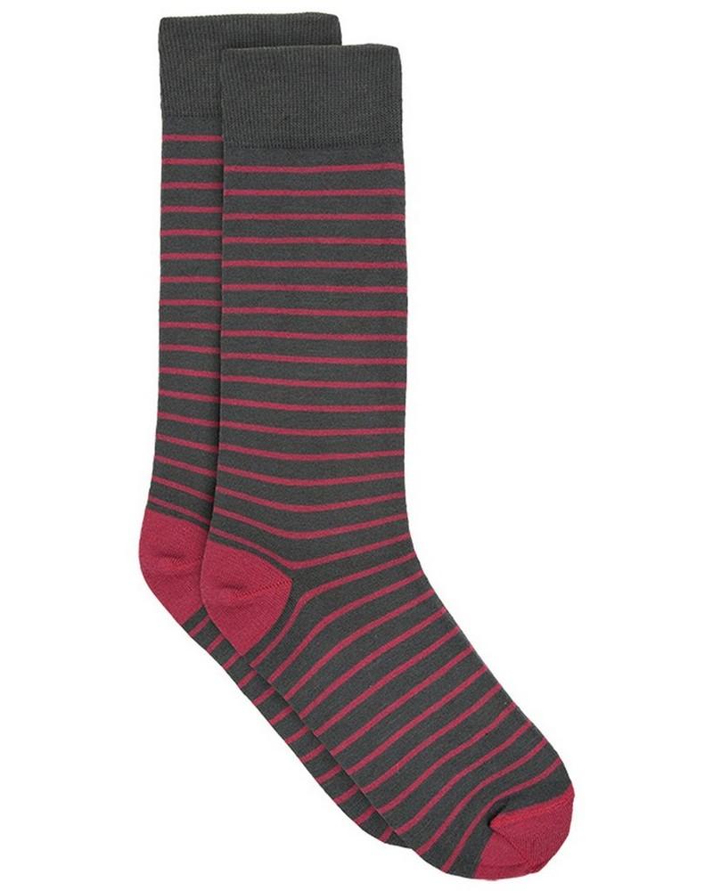 Tread & Miller 2mm Stripe Sock -  charcoal-burgundy