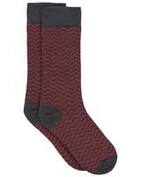 Tread & Miller Men's Zigzag Sock -  charcoal-red