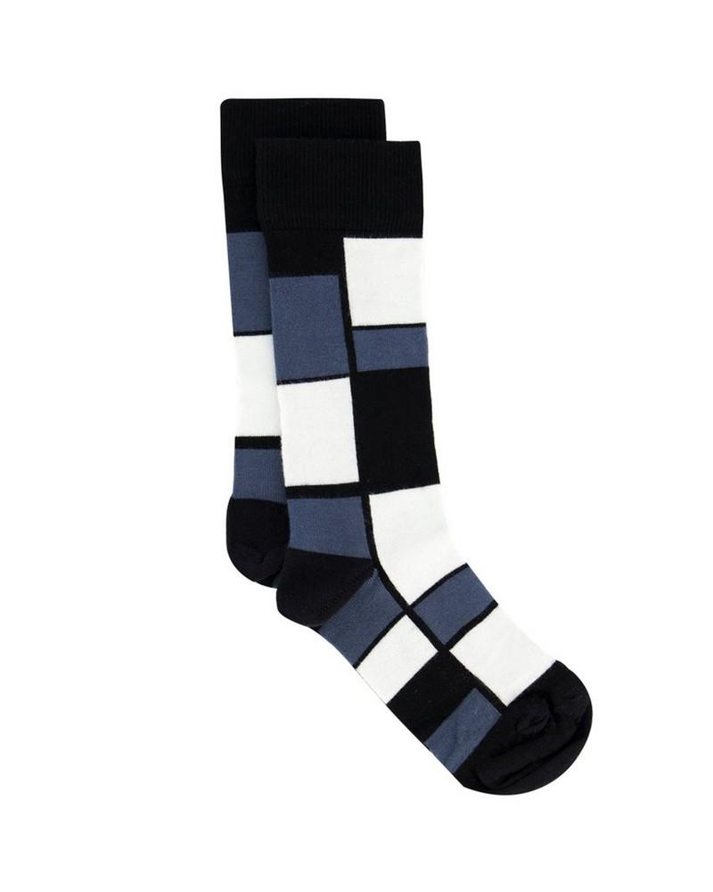 Tread & Miller Deco Square Sock -  black-charcoal
