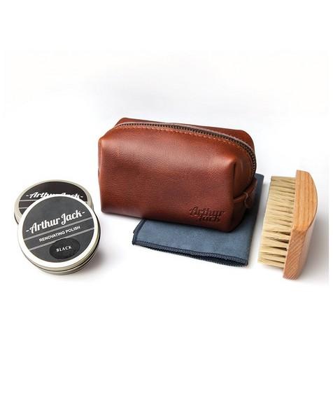 Arthur Jack Travel Shoe Care Kit -  brown-brown
