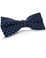 Langley Silk Bow Tie -  navy-white