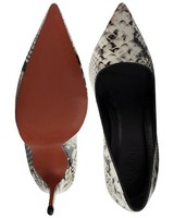 GIANNA Ladies Python High Court Heel -  cream-black