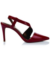 GIANNA Patent Asymmetry Pointy Ladies Heel  -  red
