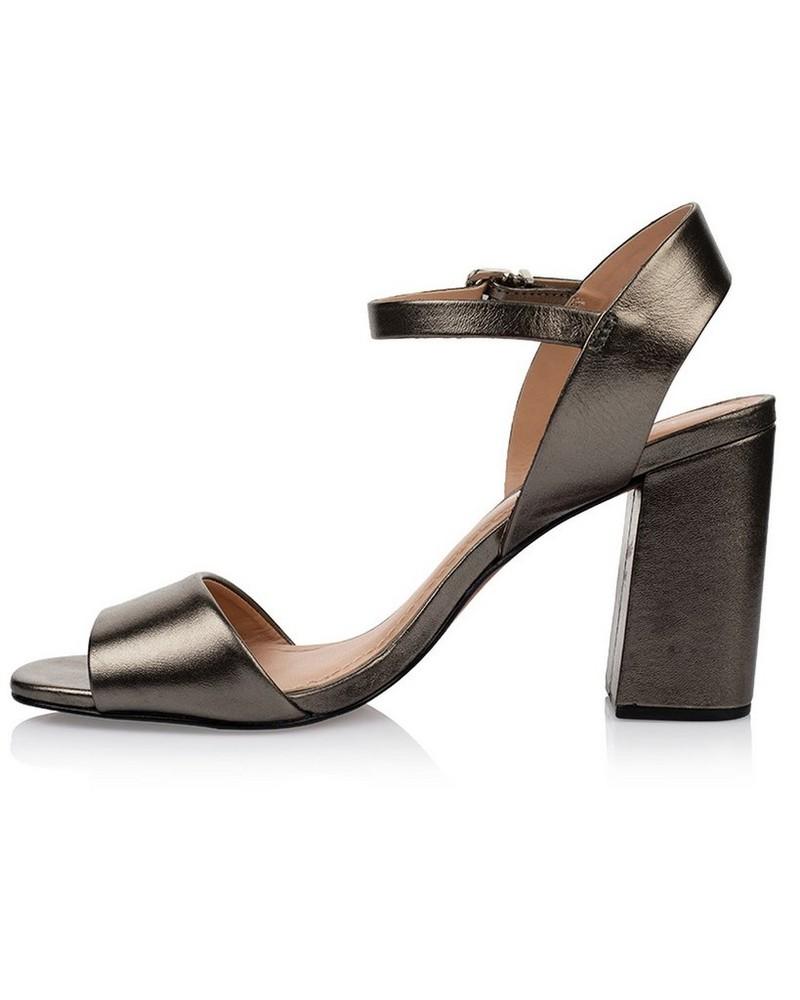 GIANNA Ladies Metallic Block Heel -  gold