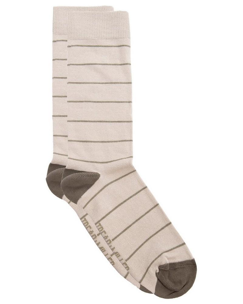 Tread & Miller Stripe Sock -  oatmeal-olive