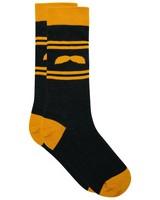 Tread & Miller Golden Stache sock -  graphite-mustard
