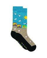 Tread & Miller Beach House sock -  oatmeal-seablue