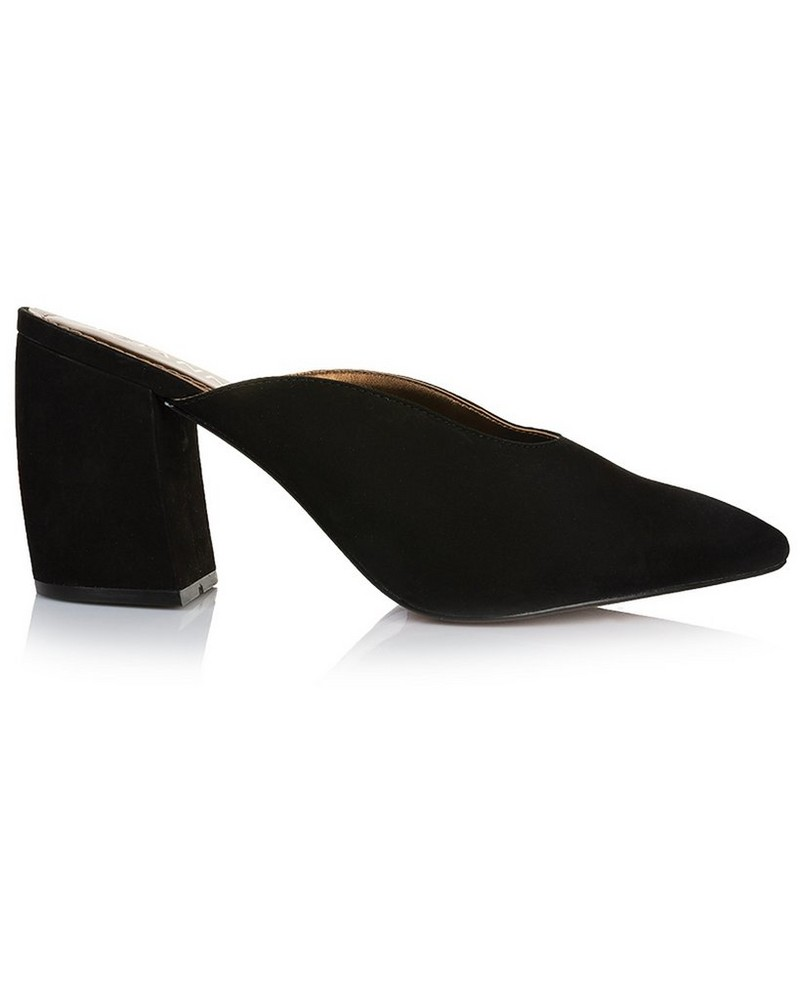 GIANNA Ladies Curved Block Mule -  black