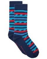 Tread & Miller Bands Sock -  blue-red